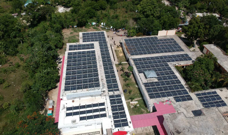 solar panels on hospital, from air