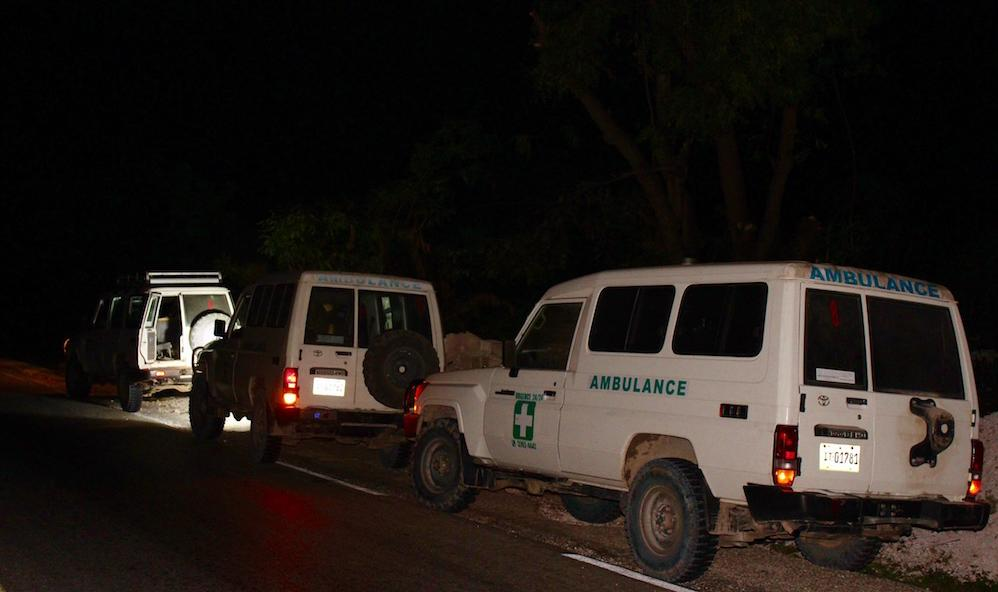 Ambulances head to Les Cayes by dark.