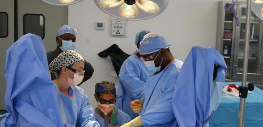 Dr Sleemi, Liz Santaniello, Dr. Guerrier and Dr. Germinal perform a pelvic floor reconstruction surgery.