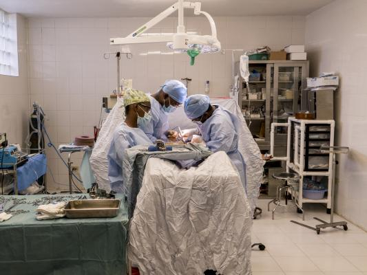 C-section being performed