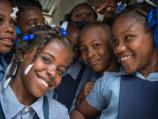 Group of school girls smiling