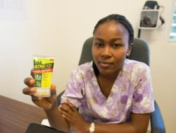 Nurse holding bug repellent