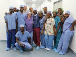 Surgical team smiling